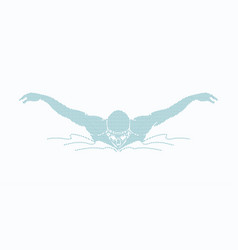 Swimming butterfly man swimming in a pool vector