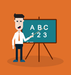 teacher with a blackboard with a pointer vector image