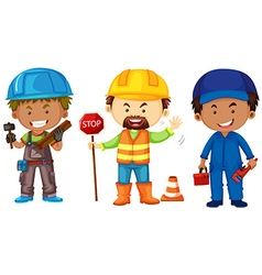 Three men doing different jobs vector image