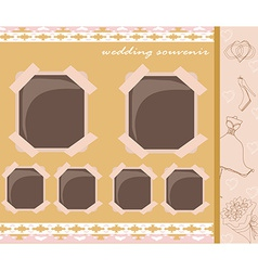 Vintage wedding album design vector