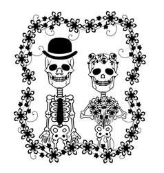 Wedding skulls with flourishes 2 vector