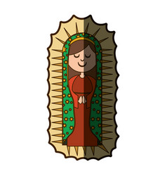 White background with canvas of virgin of vector