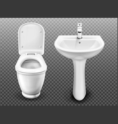 White toilet bowl and sink for bathroom vector