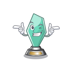 Wink acrylic trophy isolated with mascot vector