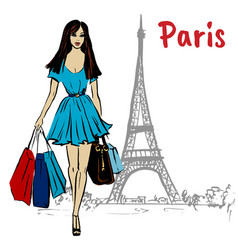 woman in paris vector image