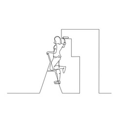 woman painting wall using roller stick continuous vector image