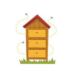 Wooden hive apiary and beekeeping vector