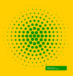 Yellow background with green haftone circle vector