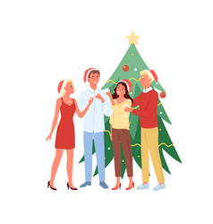 young men and women having fun together christmas vector image