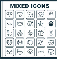 Zoology icons set collection of duck bear rat vector