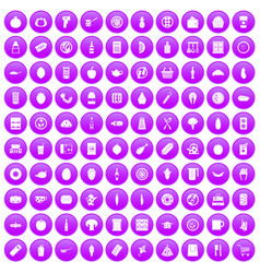 100 lunch icons set purple vector