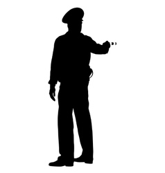 Black silhouettes Police officer with a rod on vector image