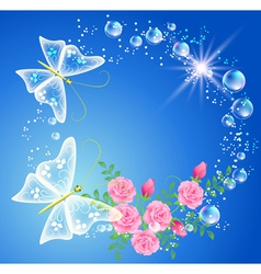 bubbles and roses vector image vector image
