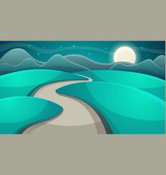 cartoon night landscape moon and cloud vector image