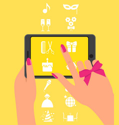 Hand holing smartphone touching screen vector