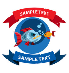 piranha and goldfish with ribbon banner clipart vector image vector image