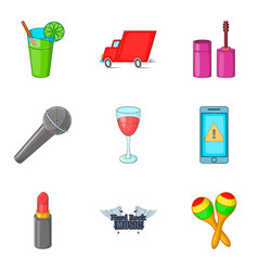 preparing for the concert icons set cartoon style vector image