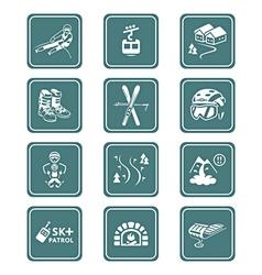 Skiing resort icons - teal series vector