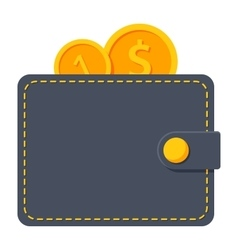 Wallet with coins vector image vector image