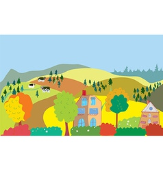 Autumn countryside landscape with trees houses vector image