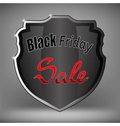 Metal Grey Shield of Black Friday Sale vector image vector image