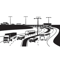 Passenger and cargo transportation on highway vector image