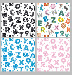 set of seamless pattern with letters vector image