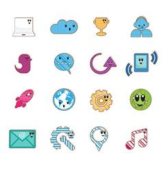 Social color Media type cartoon icon Network vector image