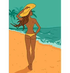 Young beautiful girl in bikini on the beach vector image