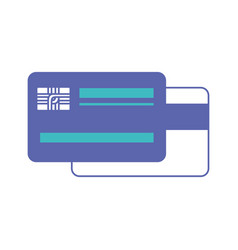 credit card both sides in blue and purple color vector image