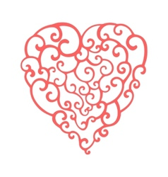 Hand drawn curly doodle heart Template for your vector image