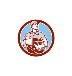 Removal Man Moving Delivery Van Circle Retro vector image vector image
