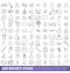 100 bounty icons set outline style vector image