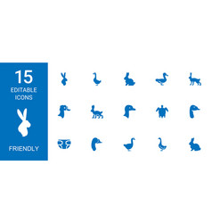 15 friendly icons vector