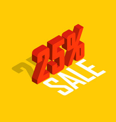 25 percent off sale red isometric object 3d vector image