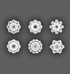 3d snowflake symbols vector image