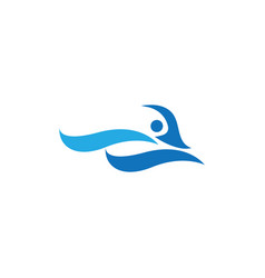 abstract water waves logo design concept vector image