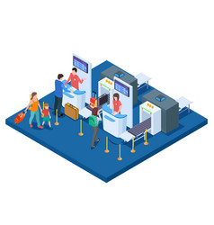 Airport check-in desk passengers and bags vector
