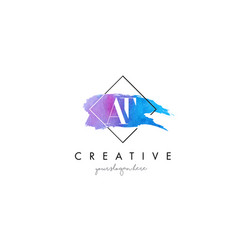 at artistic watercolor letter brush logo vector image