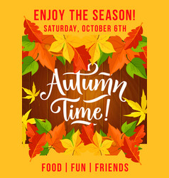 Autumn picnic fest invitation leaf fall poster vector