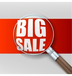 Big sale Magnifying glass over red background vector