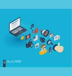 Blogging integrated 3d web icons growth and vector
