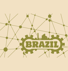 brazil word build in gear vector image