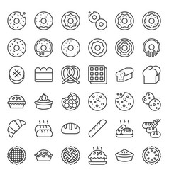 Bread donut pie bakery product outline icon set vector