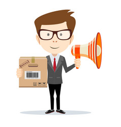 businessman with a megaphone carrying a paper box vector image