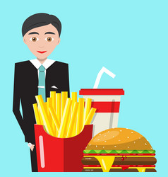 businessman with meal and drink business man with vector image