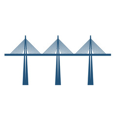 Cable-stayed bridge on three supports blue vector