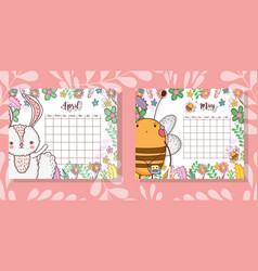 Calendar with cute animal and flowers plants vector
