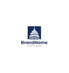 Capitol building in square logo design vector