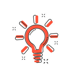 cartoon light bulb icon in comic style electric vector image